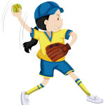 girl-softball-glove-ball-illustration-72974271